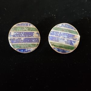 Sterling lapis and malachite earrings